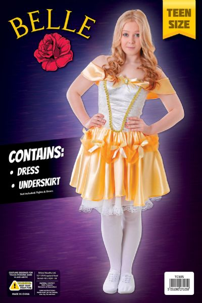 Girls Belle Costume Beauty fairytale Princess Fancy Dress Outfit